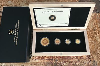 2009 Gold Hologram 4 Coin Maple Leaf Set .9999 Canada - 750 Minted