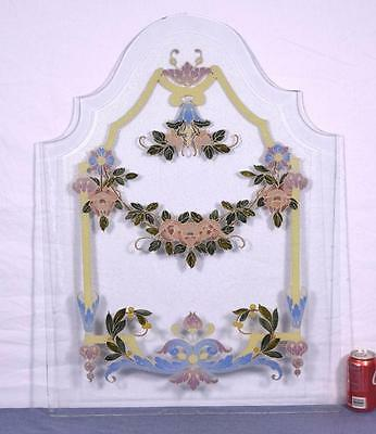 Antique French Enamel Painted Beveled Glass Panel