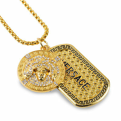 Versace Medusa Head Gold Plated Chain Necklace Bling Dog Tag U.K