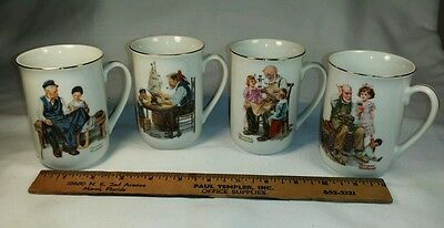 Norman Rockwell ~ Museum Seal of Authenticity Set of 4 Coffee Mugs
