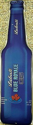 Discontinued Royale Beer From Labatts Blue Tin Metal Bottle Bar Sign Tacker NOS