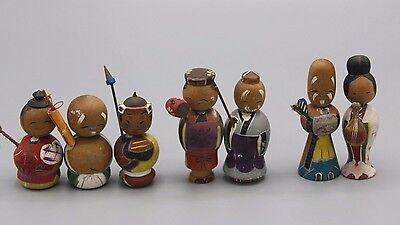 Vtg Creative Kokeshi Nodders Lot Miniature Hand Painted Japan Wooden Dolls