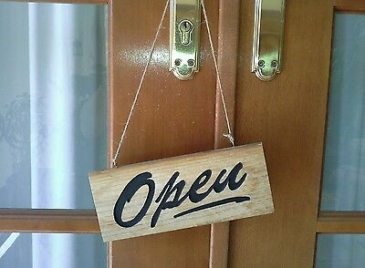 Engraved Wooden Double Sided Open/Closed Hanging Door Sign