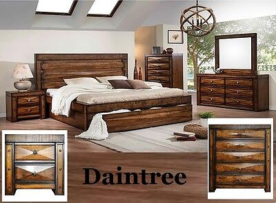 Daintree Queen Bedroom Suite Timber Bed Frame Bedside Chest Tallboy Drawers