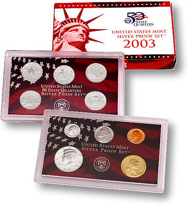 2003-S Us Mint Silver Proof Set Original Box & Coa - Complete 10 Coin Set