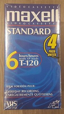 4 Sealed Maxell VHS Tapes Video Cassettes Standard Grade 6 Hour T-120 Blank VCR