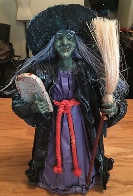 "Vintage 15"" Paper Mache Witch With Broom And Tomb Stone Halloween Decoration!"