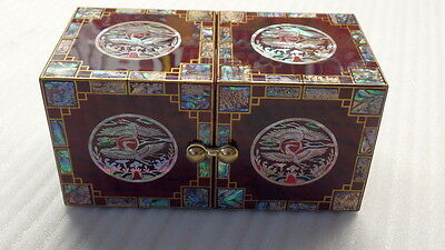 Najeon Chilgi Jewelry Box, Mother of Pearl, Lacquered, Korea Handmade, 4 Drawers
