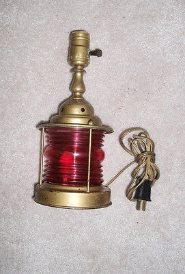 Vintage Brass Nautical Maritime Boat Table Lamp Red Lantern Red 3-Way Switch