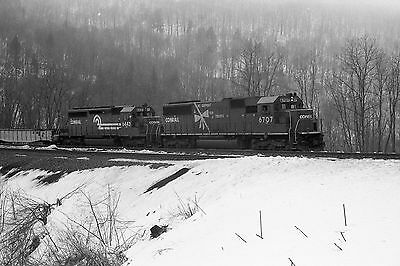 Railway Negative Conrail Sd50 # 6707 Yellow Ribbon Paint Horseshoe Curve,pa 1993