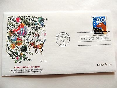 """October 21st, 1993 """"Christmas/Reindeer"""" First Day Issue Lot #1"""