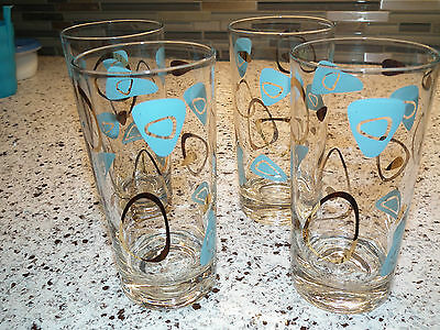 LOT OF 4 VINTAGE 50s FEDERAL TURQUOISE AMOEBA BOOMERANG DRINKING GLASSES