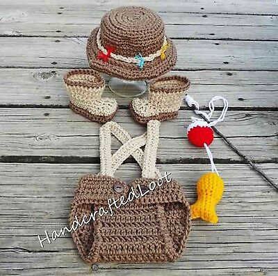 Newborn Baby Fishing Fisherman Outfit Photo Prop Crochet