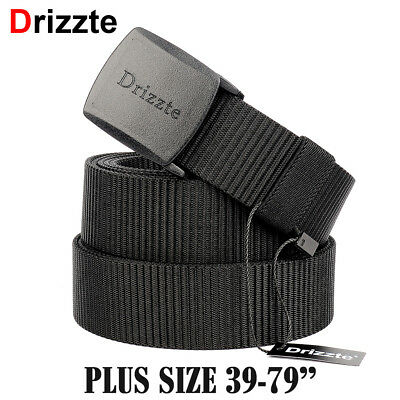 Drizzte Big Tall Plus Size 39-79'' Mens Nylon Belt Military Tactical POM Buckle