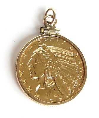 10k Yellow GOLD Bezel US $5 Dollar Gold Coin Indian Eagle Pendant Charm 1915