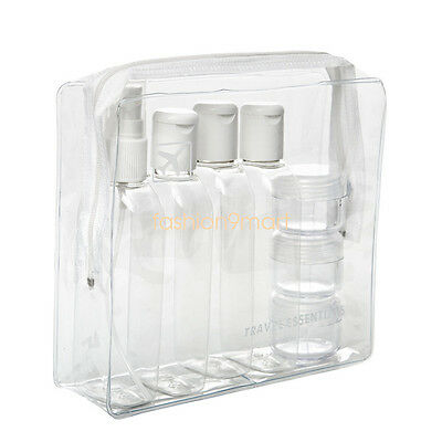 7PCS Holiday Travel Clear Plastic Bottles Packs 100ml Bottle - Jars & Clear Bag