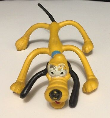 Vintage Bendable Pluto Dog Rubber Figure Toy Hong Kong Walt Disney Productions