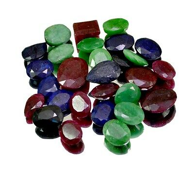 270ct / 28pcs Natural Emerald Sapphire Ruby UK Ring Size Gemstone Wholesale Lot