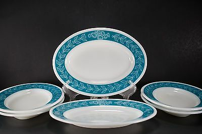 Pyrex Tableware 794 Ascot Bluegrass Oval Plates Lot of 6