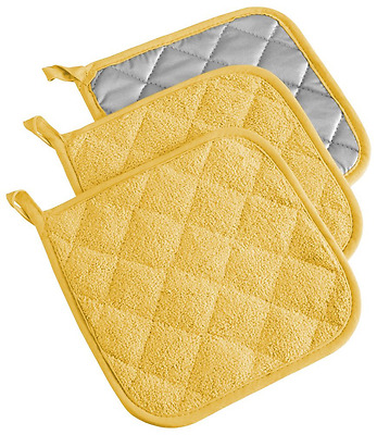 "Terry Pot Holder, Heat Resistant, Kitchen Basic, , 7 x 7"", Set of 3, Yellow"