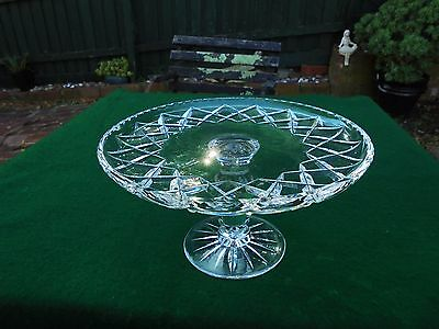 Vintage Hand Cut Crystal Cake Stand Diamond Cut Pattern