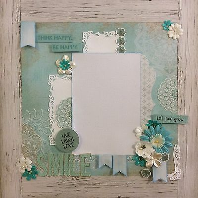 handmade scrapbook page 12 X 12 Smile Be Happy Themed Layout