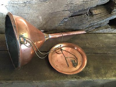 Vintage, Old Copper And Brass Funnel And Drip Tray