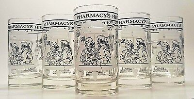 6 Vintage Pharmacy Bicentennial Glasses Tumblers Rx Medical Barware Cocktail