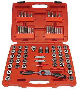 Tap & Die with Gear Ratchet Wrench 75Pc Metric & SAE Set T&E Tools TD75BC NEW RE