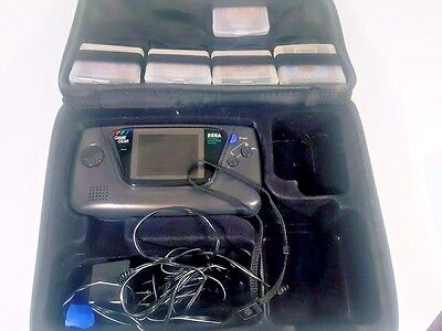 Sega Game Gear Handheld Console(parts not working) Case / Charger / 5 Game lot