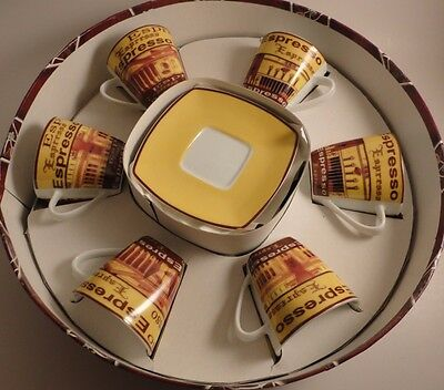 Espresso Set 12 Piece - 6 Cup 6 Saucer In Round Box Coffee Gift Set FINE CHINA