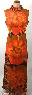 VINTAGE 70s ORANGE tan golden BOLD pop FLORAL funky 100% COTTON Maxi dress 12