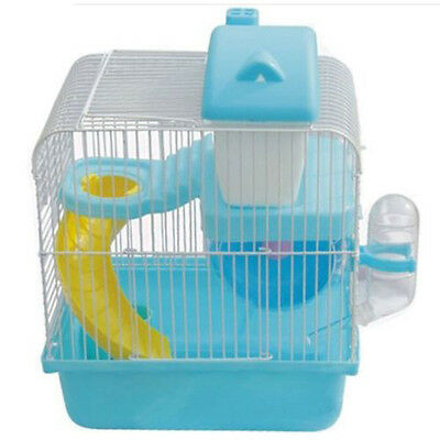 Hot Hamster Gerbil Mouse Small Pet Cage 2 Storey Levels Floor Water Bottle H2V2