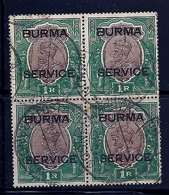 1937 Burma, Sg011 Cat £56 Mint, Kgvi, Block Of 4, Fine Used, Not India, States