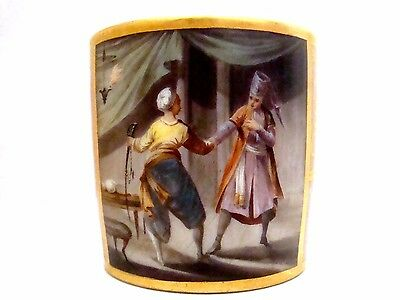 Dagoty Porcelain Coffee Can Titled Les Deux Amis With Ottoman Soldiers C1810