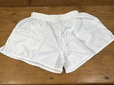 "Vintage 1980s Reydon Sport Football SHORTS Shiny White Glanz Large 34/36"" D6 OG"