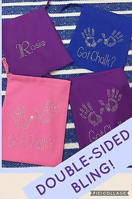 Personalised Gymnastics Chalk Grip Hand guard Bag Pouch DOUBLE SIDED BLING