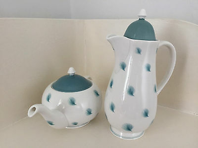 Susie Cooper 1950's - Rare Teapot and Coffee Pot Whispering Grass Turquoise Blue