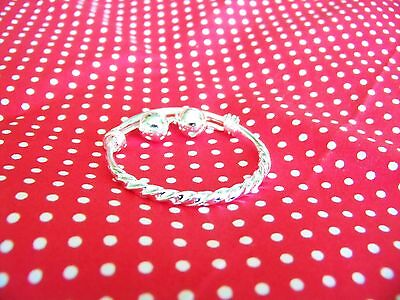 Pair Of Adjustable Silver Baby Bangle Bracelet With Bells Christening/birthday