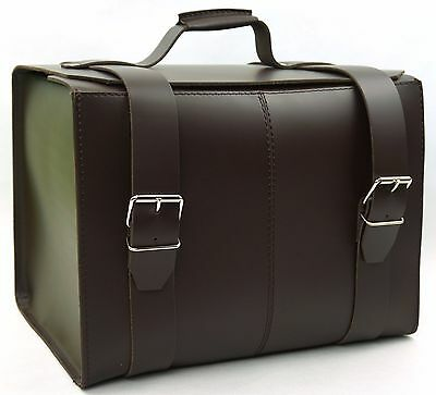 LARGE Leather Top Case Roll Bag Vespa Primavera PX LX LXV GTS GTV Dark Brown