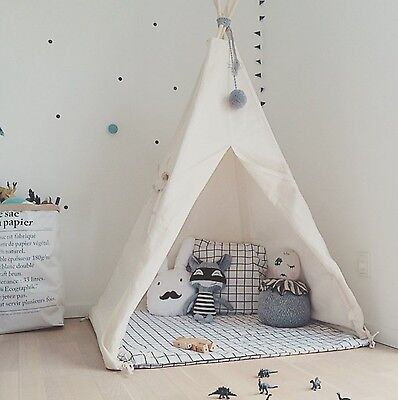 Portable Cotton Teepee Play Tent Playhouse Indoor Outdoor House For Girls & Boys