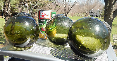 3 Olive Glass Hand Blown Fish Floats
