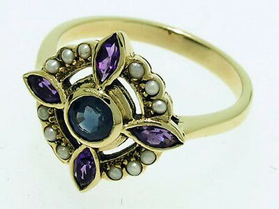 C458- Genuine 9ct Gold NATURAL Sapphire, Amethyst  & Pearl Ring in your size