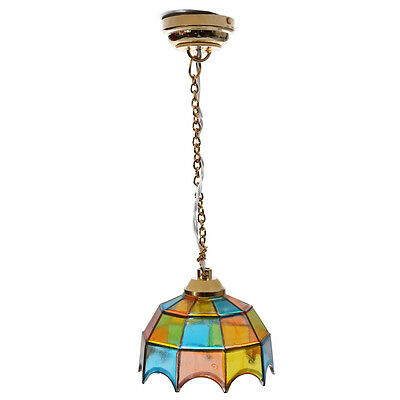 Metal 1:12 Dollhouse Miniature Ceiling Lamp Model with Multicolor Umbrella B5U8