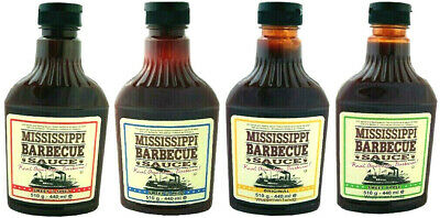 4 x Mississippi  BBQ Sauce,Grillsauce,Sweet´n Spicy,Sweet Apple,Sweet´n Mild,Set