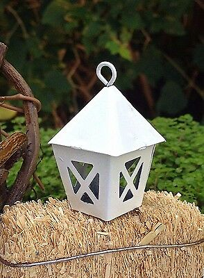 Miniature Dollhouse FAIRY GARDEN Accessories ~ Mini Metal White Lantern ~ NEW