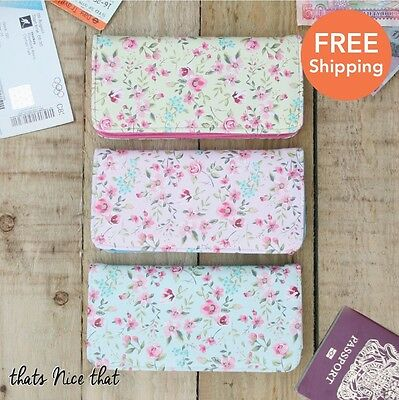 Floral Travel Wallet Gift Purse Tickets Holder Documents ID Holiday Bag Pink Fun