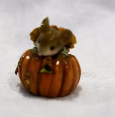 RARE! Wee Forest Folk WFF Pumpkin Pop-Up Halloween Mouse Figurine M379-S