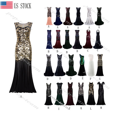 Cocktail Wedding Long Evening Prom Dress Ball Gown 1920s Flapper Gatsby Costumes