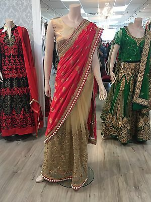 Designer saree in gold and pink with pearls
